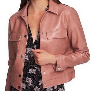 NWT 1. State dusty rose pink leather moto jacket